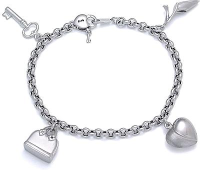 14k white gold charm bracelet tgogzvg