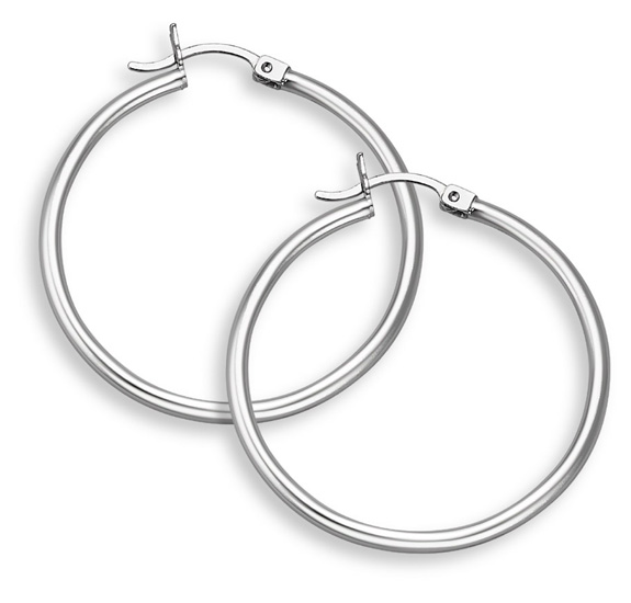 14k white gold hoop earrings, 1 3/8 eqwdqyg
