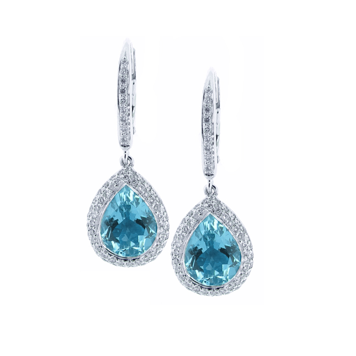 18 karat white gold diamond and aquamarine earrings ENAOXMZ
