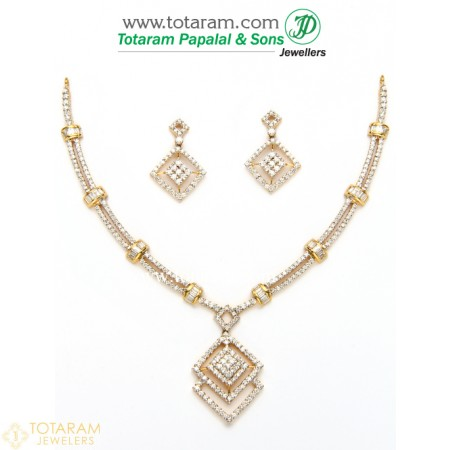 18k gold diamond necklace u0026 drop earrings set - 235-ds442 - buy this latest ijqpwln