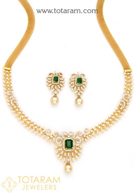 18k gold diamond necklace u0026 earrings set with color stones u0026 south sea  pearls bzlziju