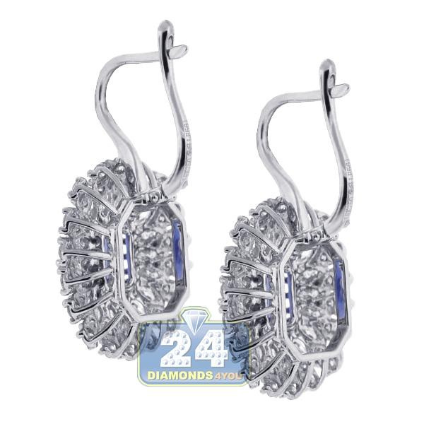 18k white gold 4.49 ct diamond tanzanite womens cocktail earrings xjtjbry