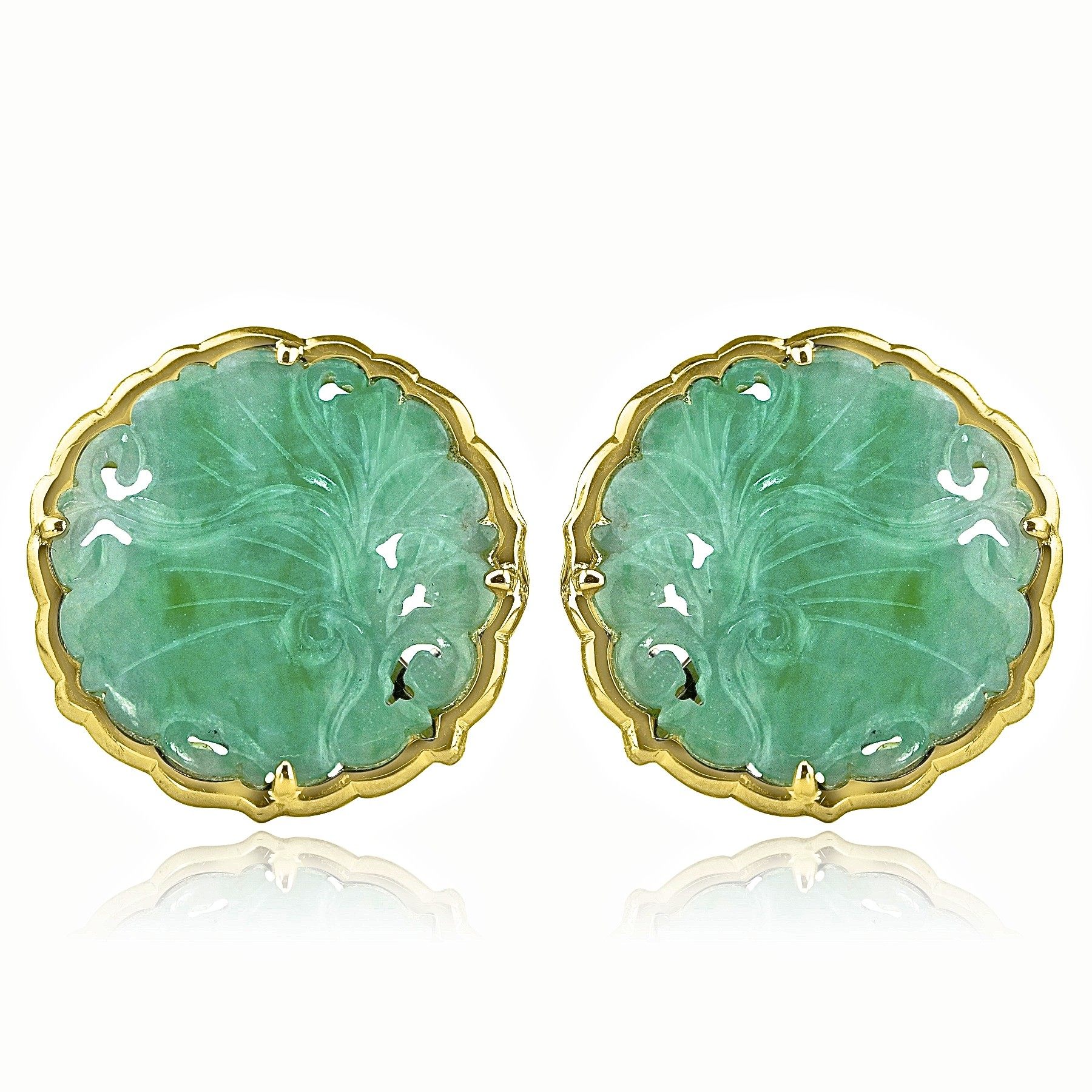 18k y/g vintage jade earrings yltjdzx
