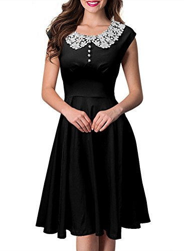 1940s dresses sylviey womens classy vintage hepburn style 1940s rockabilly evening party  dress black medium ecxpgkj