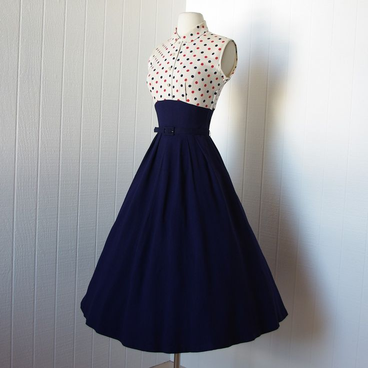 1940s dresses vintage 1940s dress ...fabulous wwii navy blue full skirt pin-up dress oyoauwg