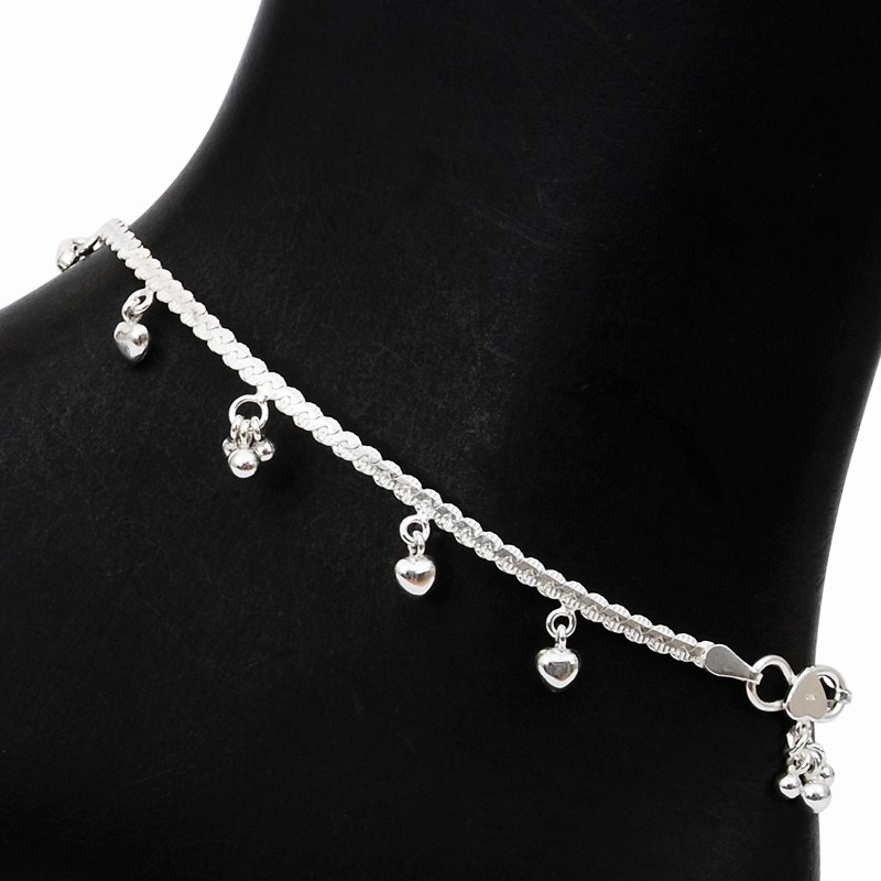 20.38 grams twist chain silver anklets with little heart charms hkehmbj