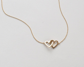 20% off simple double heart necklace, dainty heart link necklace, minimal  layering heart wcvcmup