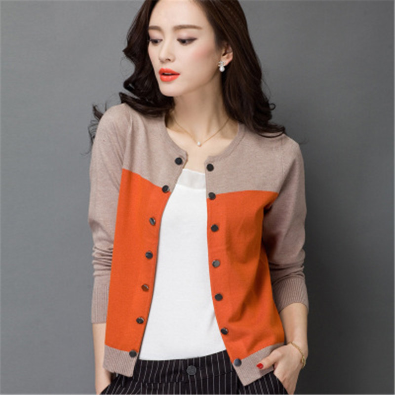2015 high quality autumn winter sweater women cardigan sweater spell color  loose double breasted wrgqfkj