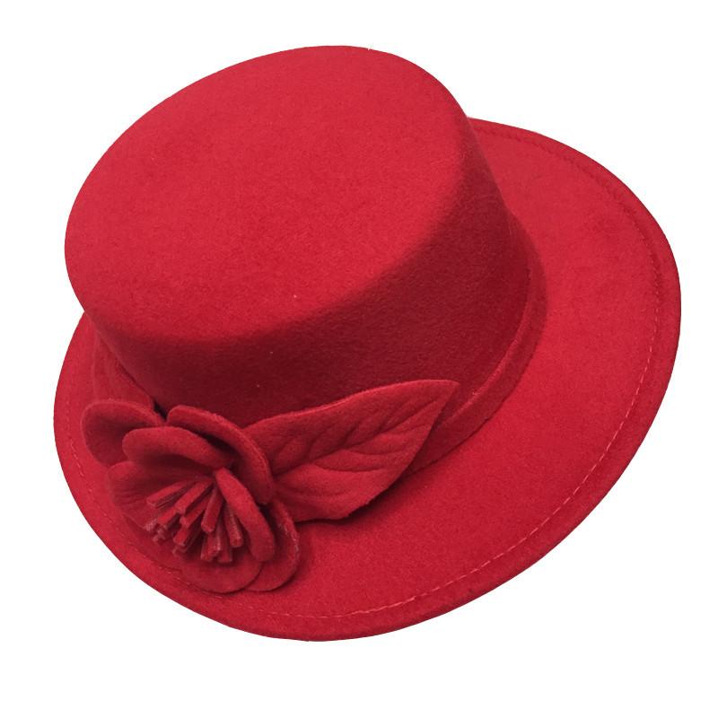 2017 autumn winter elegant ladies hats felt fedora round bowler hats red  white black uusvjdq