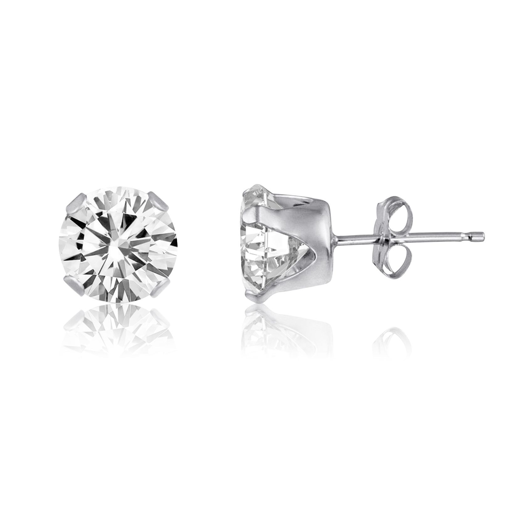 2ct white topaz 925 sterling silver stud earrings - 6mm round dzutzoq
