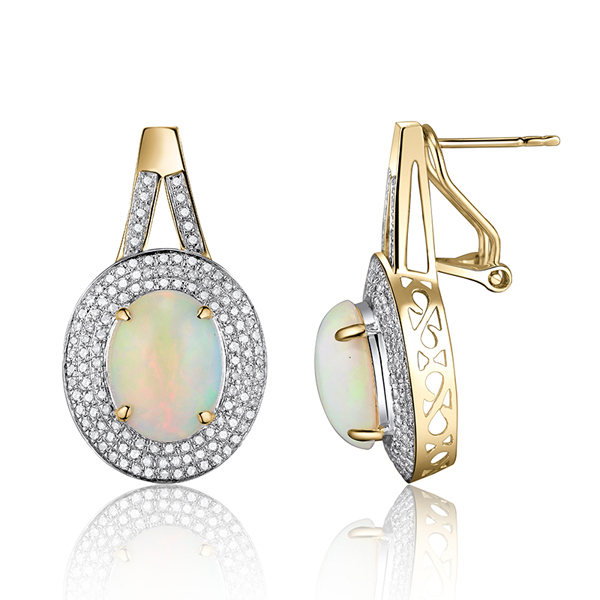 4.10 ct natural opal gemstone earrings with 0.85 ct diamond pave ouhkbmb