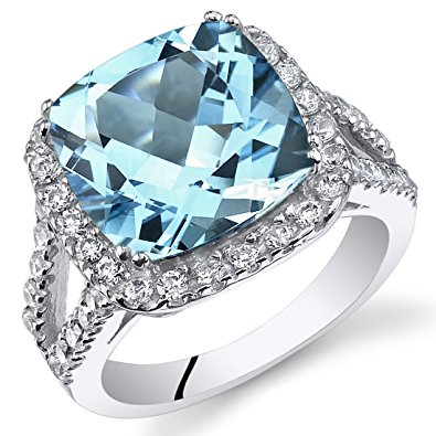 6.25 carats cushion cut swiss blue topaz ring sterling silver size 5 kecordf