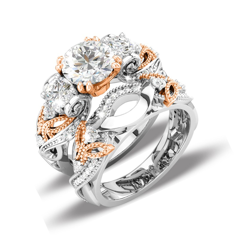 62 luxury butterfly wedding ring sets with three-stone rose gold plated in  sterling silver uufswoq