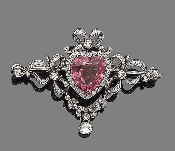 a tourmaline and diamond brooch the heart-shaped pink tourmaline, within an  old brilliant upzkfyi