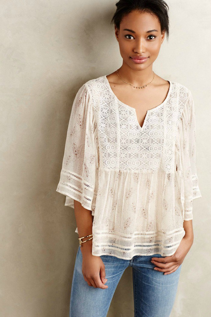 aeris silk peasant blouse - anthropologie $138.00 atuxfzg