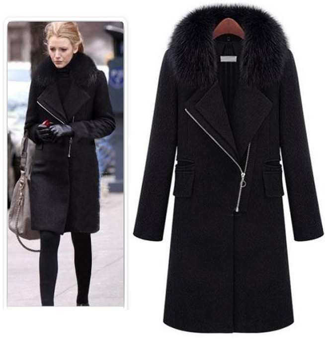aliexpress.com : buy 2017 autumn winter women black wool coat fur collar  oblique zipper yonxlif