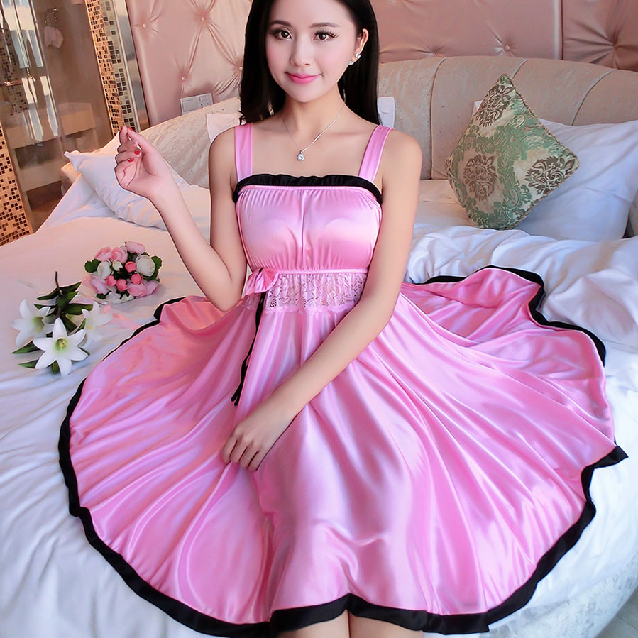 aliexpress.com : buy ladies sexy silk satin night dress sleeveless nighties  v neck nightgown bfbhdxc