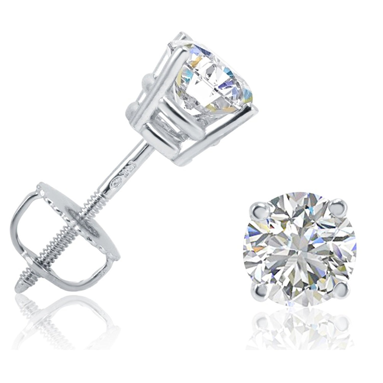 amazon.com: igi certified 1ct tw round diamond stud earrings set in 14k  white gold ccjhtad