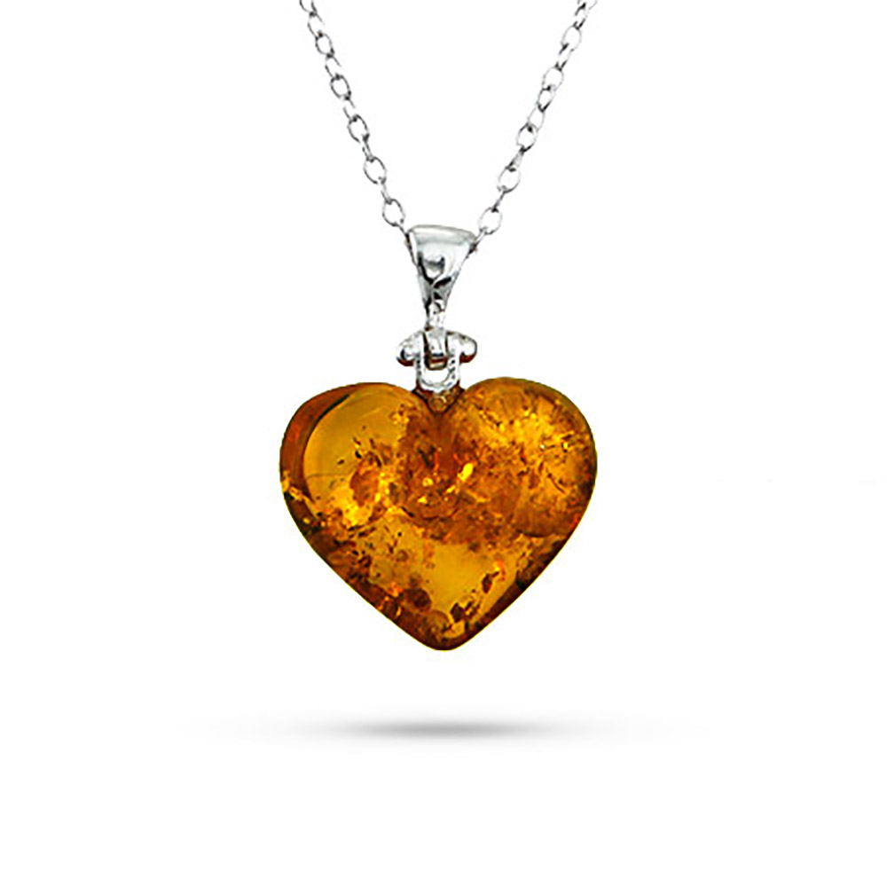 amber necklace sterling silver baltic amber heart pendant BKLEAST