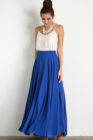 amelia full blue maxi skirt exwxwjs