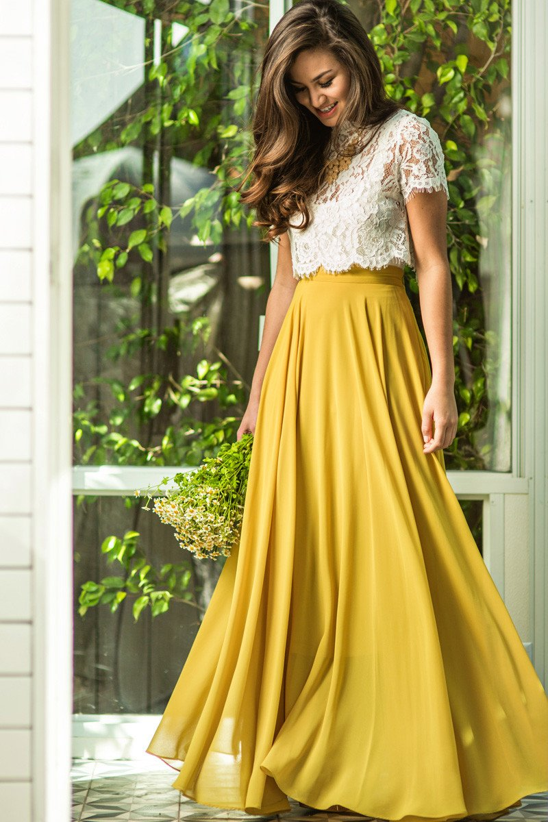 amelia full yellow maxi skirt urflzoe