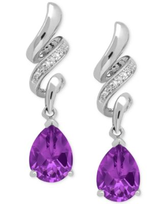 amethyst earrings amethyst (1-9/10 ct. t.w.) and diamond accent squiggle earrings LEYBPMM