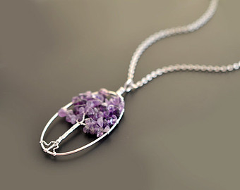 amethyst jewelry 10% off, amethyst necklace, pendant necklace, gem stone necklace,silver  necklace UDSXNFF