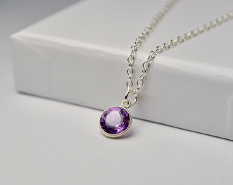 amethyst jewelry amethyst necklace, february birthstone necklace, gem necklace, amethyst  jewelry, amethyst pendant necklace VPQTUQI