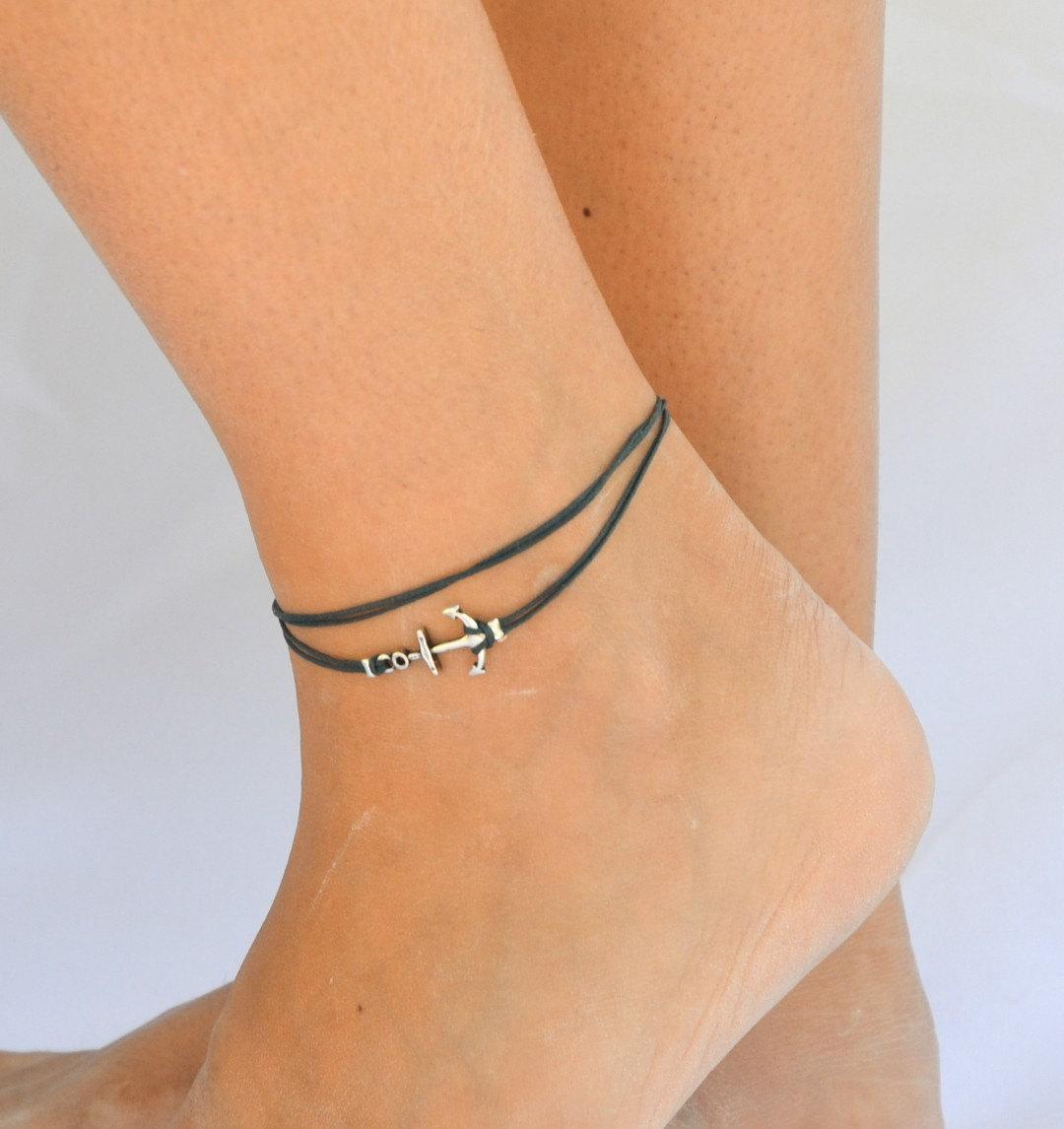 ankle bracelets anchor anklet, blue dainty wrap anklet with a silver anchor charm, blue ankle  bracelet, GBNQHHX