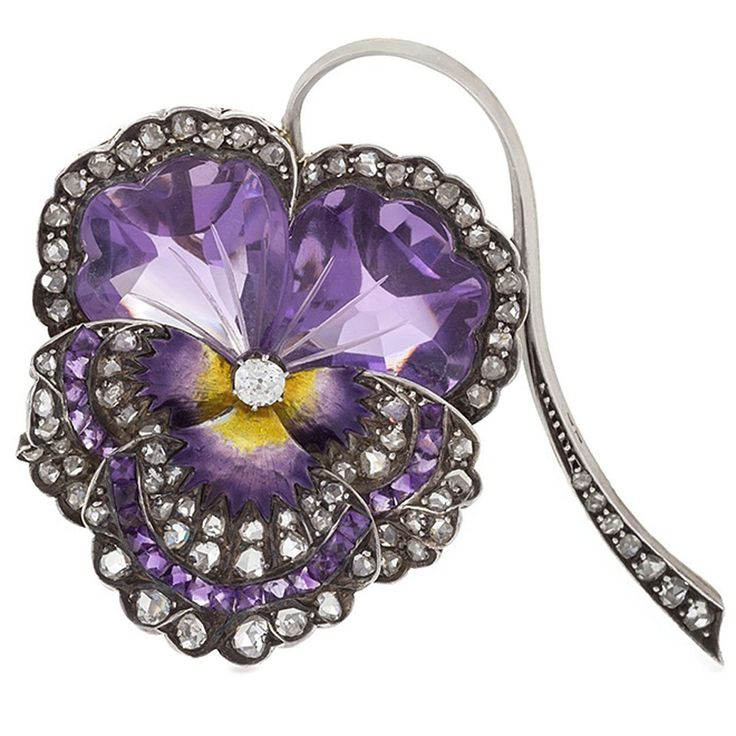 antique brooches french antique enamel amethyst diamond silver-topped gold pansy brooch CGZHSLI