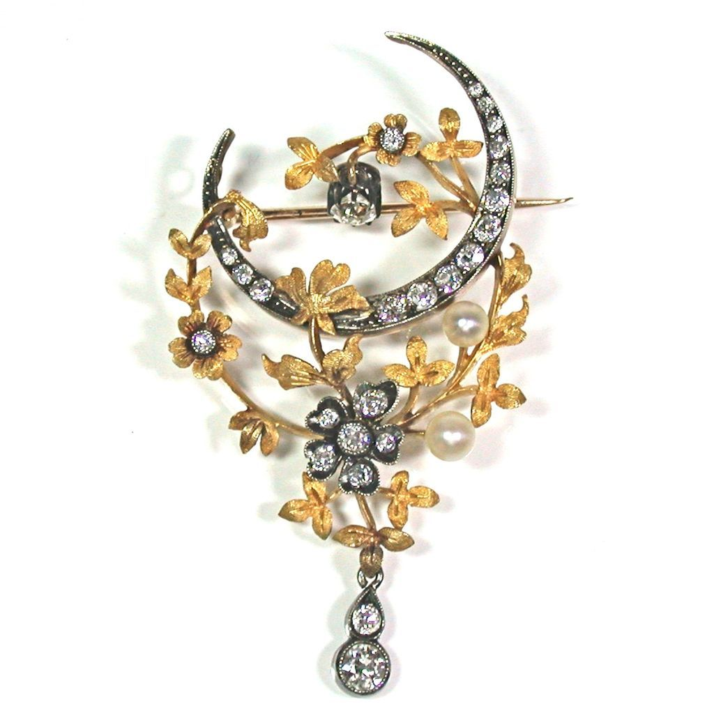 antique gold, pearl, diamond brooch drqlypc