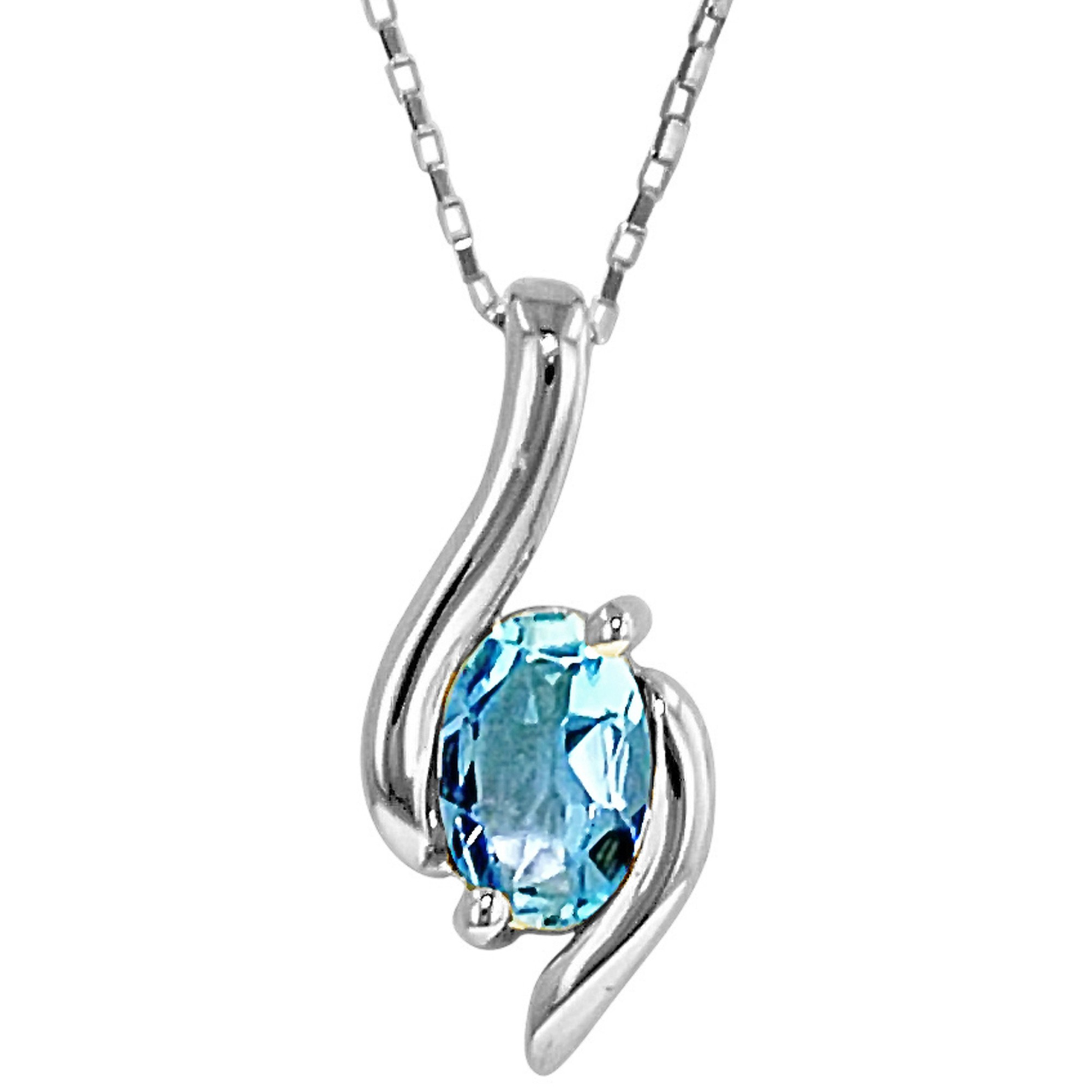 aquamarine necklace in 10kt white gold PPCZQBN