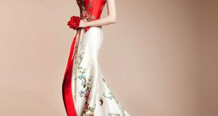 asian dresses asian inspired red and white embroidered halter bridal wedding bridal dress  (custom made only) qinmngc