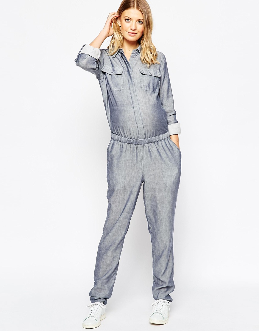 asos maternity dungarees chambray jumpsuit cccratp