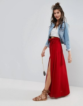 asos maxi skirt with belt and thigh split letkqkm