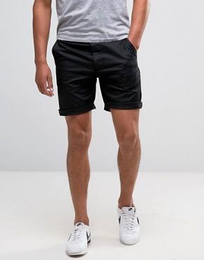 asos slim chino shorts in black winratj