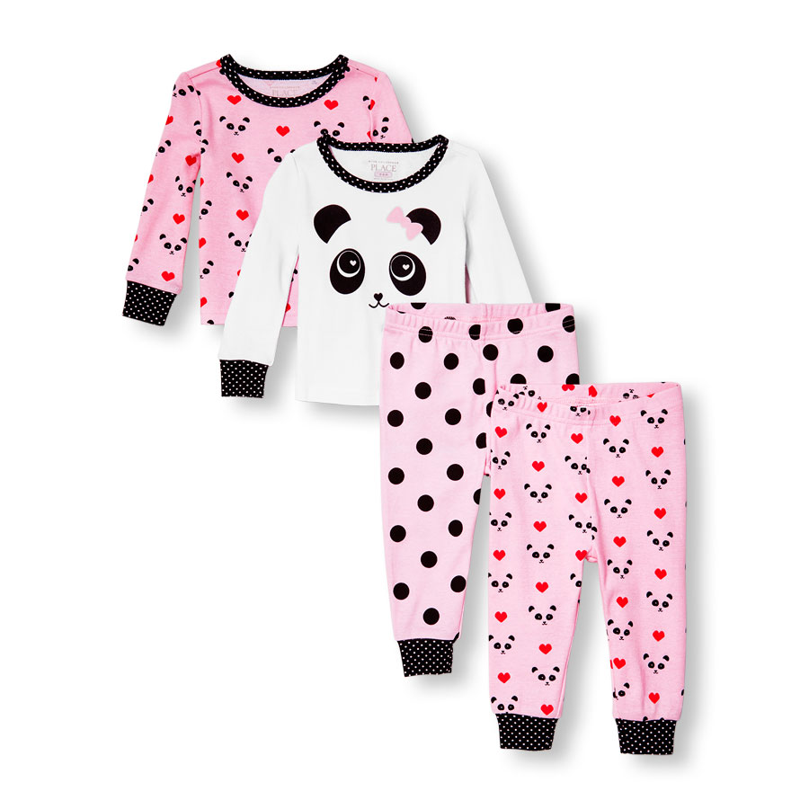 baby girl clothing baby and toddler girls long sleeve panda love tops and pants 4-piece pj set phoimys