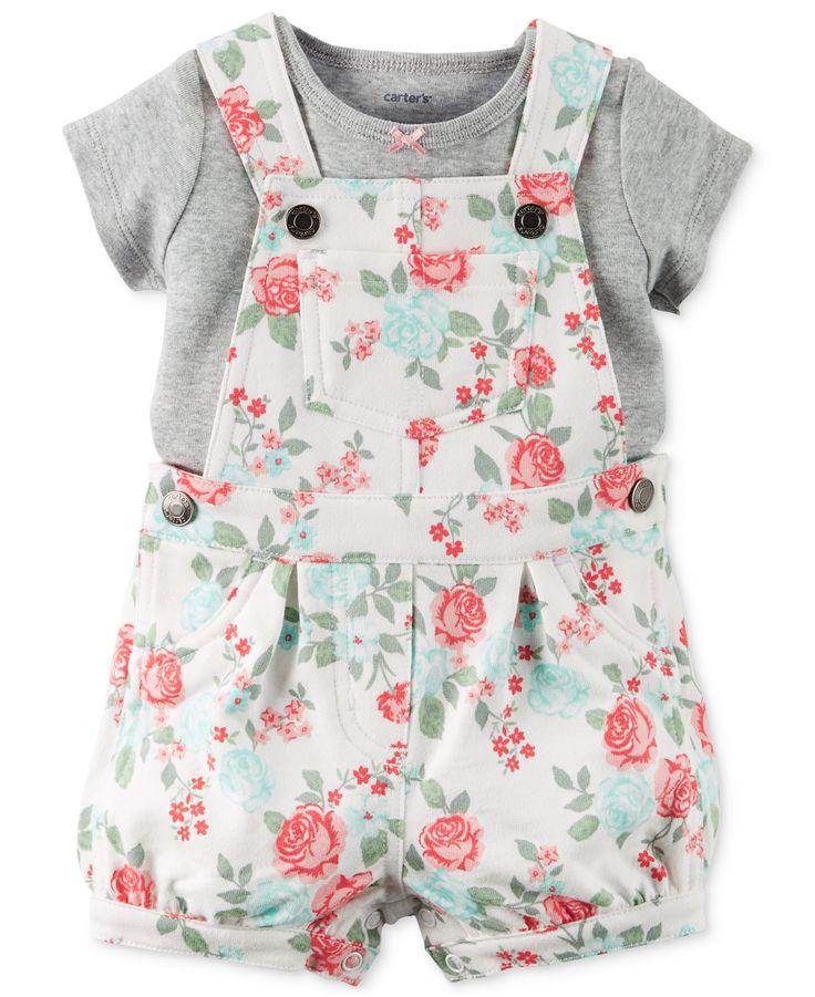 baby girl clothing carteru0027s baby girlsu0027 2-piece gray t-shirt u0026 rose-print shortall mwxvmbu