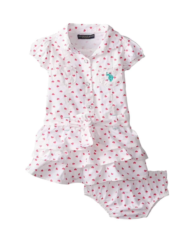 baby girl clothing cute u.s. polo assn. baby girlsu0027 twill heart print ruffle dress toddler girl  dresses avkyjta