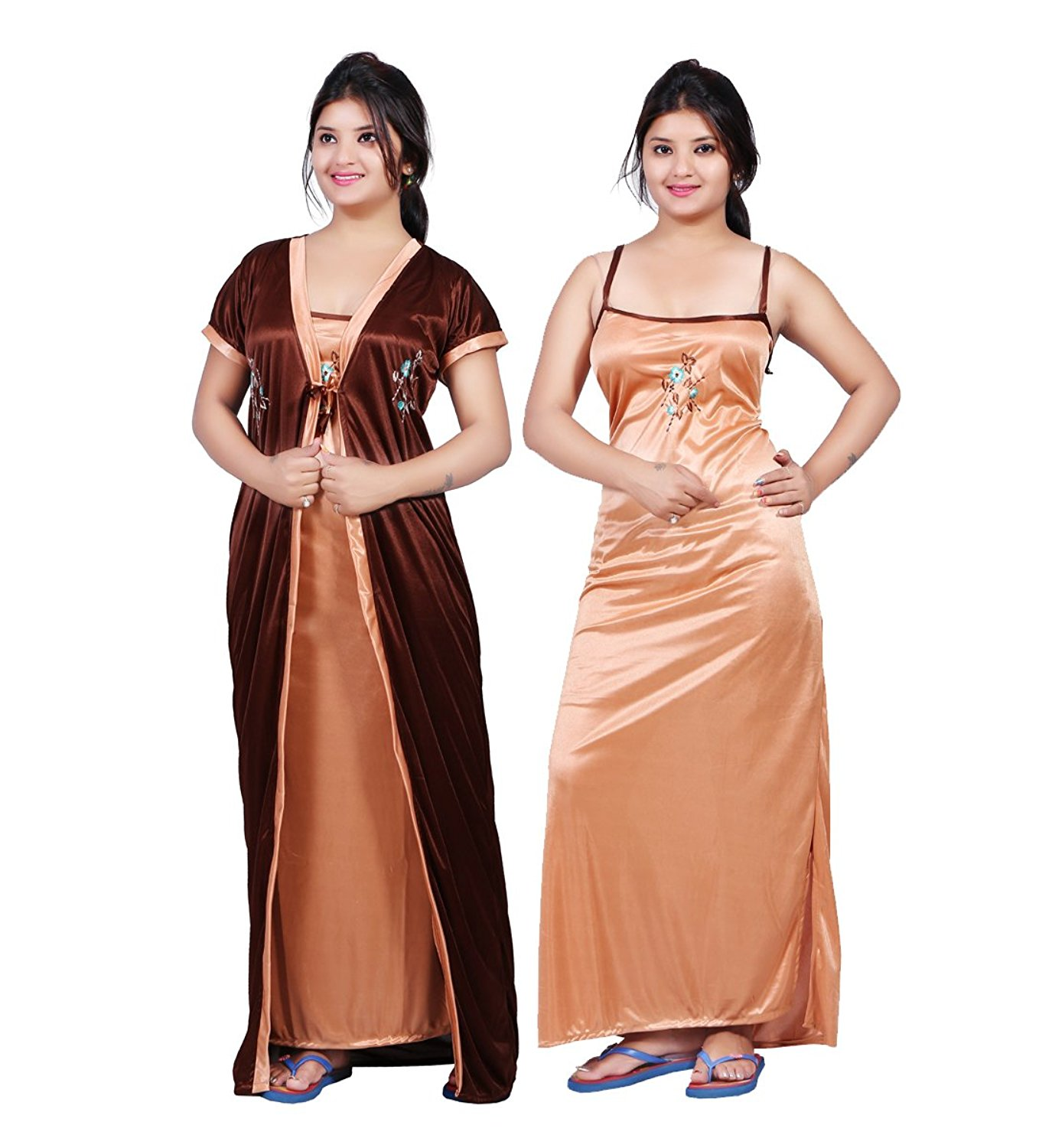 bailey womenu0027s satin night dress (pack of 2): amazon.in: clothing u0026  accessories vefblec