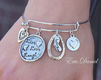 bangle charm bracelet love theme charm bangle, available in silver and gold, love bangle, love  bracelet LQPSIBT
