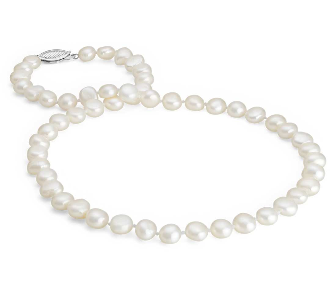 baroque freshwater cultured pearl necklace in sterling silver (7.5mm) zrhjyzz
