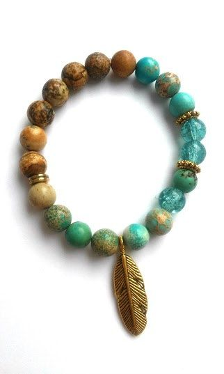 beaded jewelry native natural jasper bracelet - gold feather charm gemstone glass beaded  jewelry MZOJTXQ