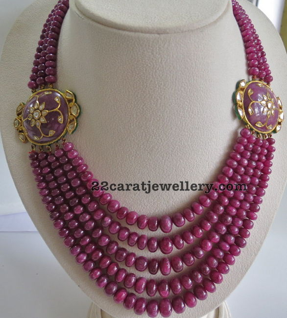 beads jewellery designs multiple rows ruby beads set - jewellery designs AXGROOZ