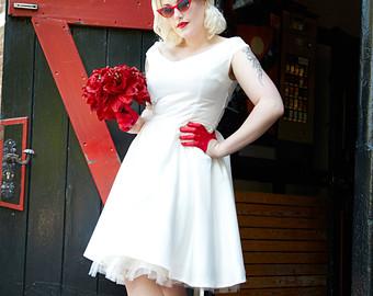 bespoke bridal satin 50u0027s rock and roll rockabilly wedding dress vtunnsc