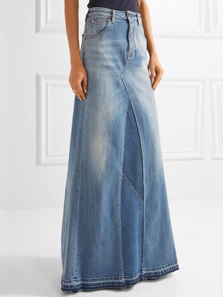 best case blue solid pockets denim maxi skirt tpnuwxp