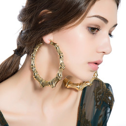 big hoop earrings 1 pair fashion punk gold tone bamboo big hoop large circle earring  exaggerated diameter PFJUYWS
