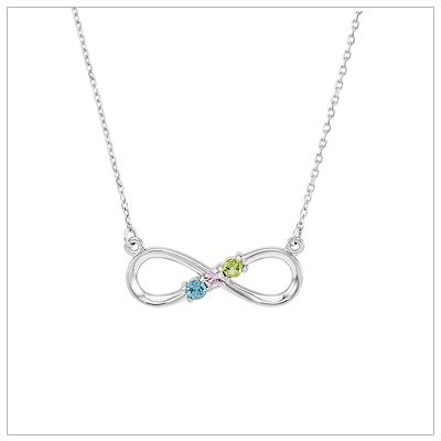 birthstone necklace beautiful mom necklace with three genuine birthstones set in a sterling  infinity design. EWYNOVF
