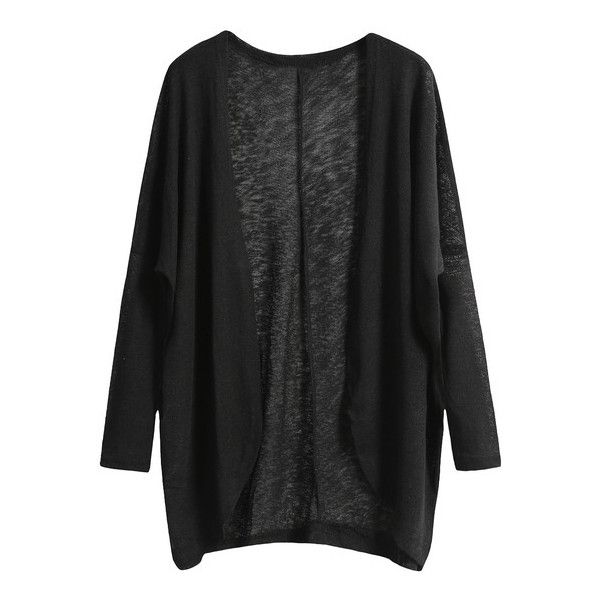 black cardigan shein(sheinside) black long sleeve loose knit cardigan ($12) ❤ liked on detnbir