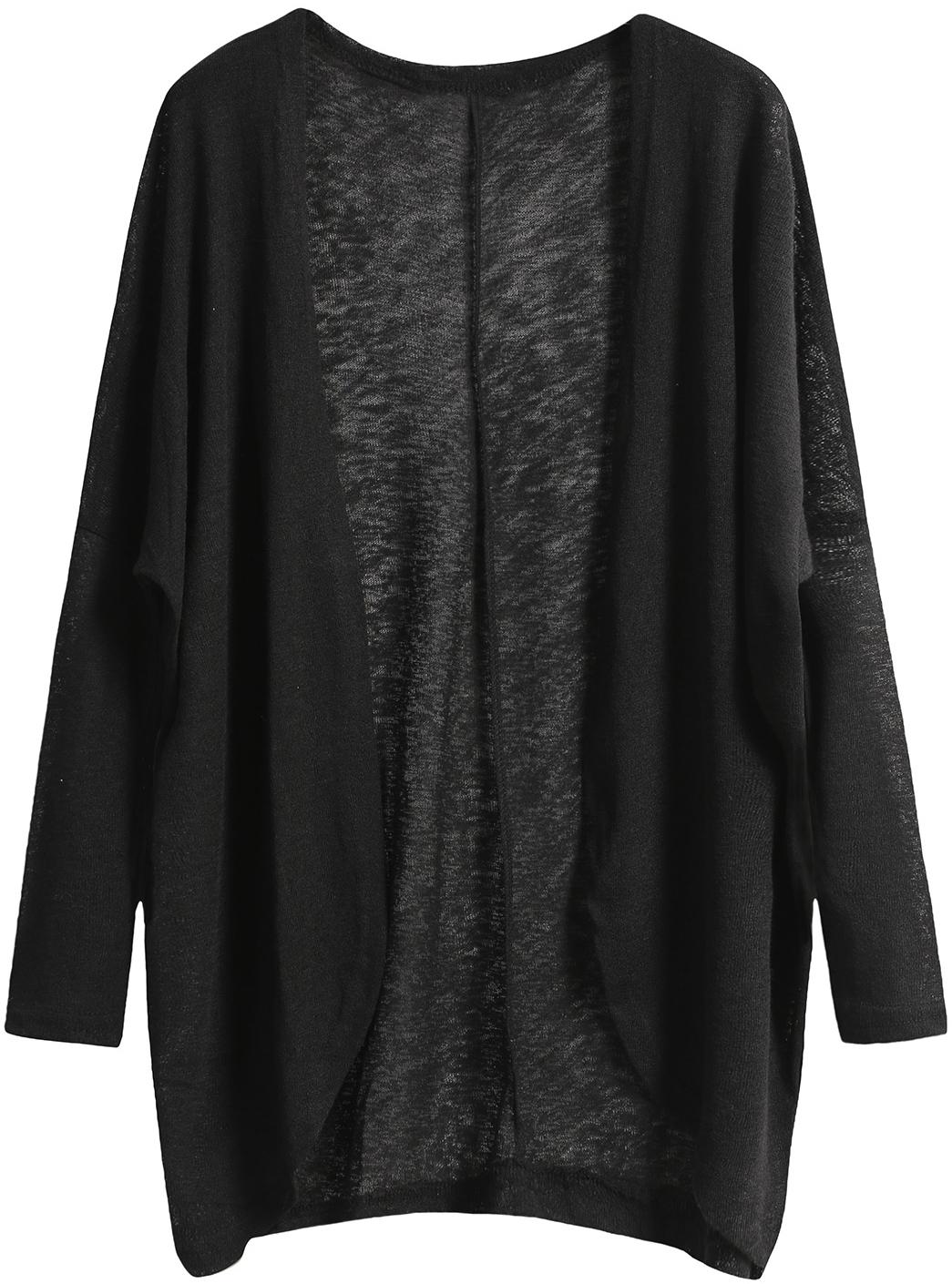 black cardigan shop black long sleeve loose knit cardigan online. shein offers black long  sleeve loose cyykspg